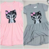 Cat Print Cotton Dress For Girls Cute Summer Grey and Pink Clothing For Children
