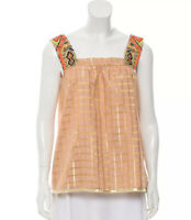 Vineet Bahl Womens Size S Anthropologie Tank Top Pink Gold Embroidered Boho