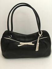 Guess Genuine Leather Bag Purse Black / White NEW Medium Retail $150