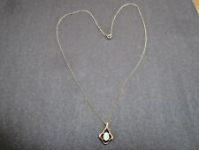 Vintage 14k Solid Yellow Gold Necklace w/ Small Fire Opal Cabochon Drop Pendant