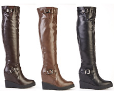 Womens Ladies Wedge Knee High Faux Leather PVC Boots Shoes UK 3,4,5,6,7,8