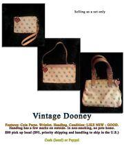 Dooney Bourke Satchel Handbag cream DB Signature IT Leather Trim Handbag