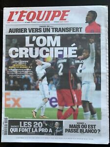 L'Equipe Journal 19/2/2016; Ligue Europa; Marseille-Athlétic Bilbao 0-1/ Aurier