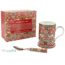William Morris Strawberry Thief Mug / Cup Coaster & Spoon Set Gift Boxed - Red