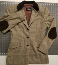 B moss Tailor tweed glen plaid equestrian blazer elbow patches size 2 POCKETS