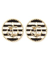 Seaside Ocean Nautical Enamel Anchor Disc Earrings  Black/Wh