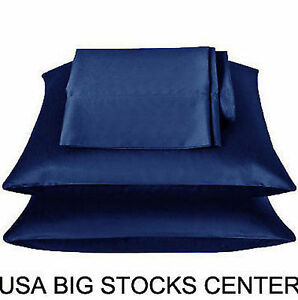 2 Standard / Queen size SATIN Pillow Cases / Covers NAVY BLUE Color - Brand New