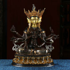"17"" Tibetan Buddhism bronze copper gilt silver handmade Three face Buddha statue"
