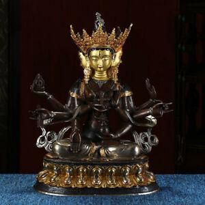 "17"" Tibetan Buddhism bronze copper gilt silver handmade Three face Buddha statue"