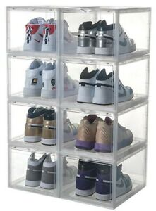MAGNETIC DROP FRONT Shoe Box Storage Container - Stackable (easy to assemble)