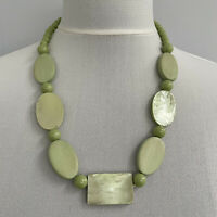 Vintage Statement Necklace Pale Green Beaded Wood & Faux Shell Retro 1950s Style
