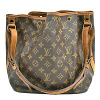 Authentic Louis Vuitton Petit Noe Monogram Shoulder Hand Bag Brown Gold