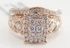 14k Rose Gold 1 CT Diamond Emerald Halo Engagement Ring Bridal Set Band Sapphire