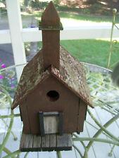"Primitive/Antique Rustic Church Birdhouse - 14"" hi x 8"" wide"