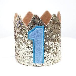 Gold Glitter Sparkles Blue 1st Birthday Boy Hat Party Crown Toddler 1 Birthday