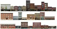 #400 HO scale 28 background buildings COMMERCIAL FRONTS WITHOUT FOAM CORE