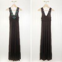 Boston Proper Brown Turquoise Maxi Dress Fringe Stones Small Sleeveless