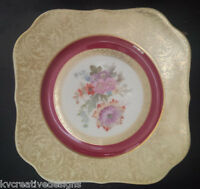 TIRSCHENREUTH P.T. BAVARIA  Gold Red Floral Dresden China Dinner Plate Germany