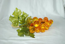 "Vintage Grape Cluster GOLDEN GRAPES Millinery Leaves Retro 8"" Wired"