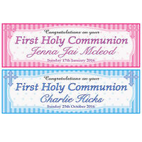 2 PERSONALISED CONGRATULATIONS ON YOUR FIRST HOLY COMMUNION BANNERS - BOY  GIRL
