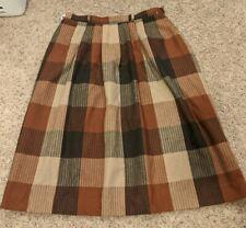 Vtg TanJay Brown And Orange Plaid Skirt Size 16