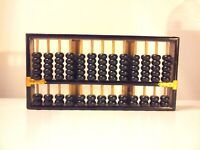 Vintage Wood Black with Gold Accents ABACUS LOTUS FLOWER Brand