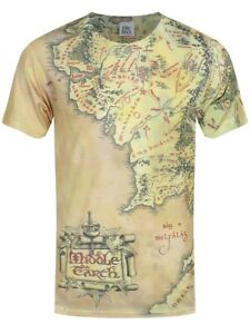 The Lord Of The Rings-Middle Earth Map T-Shirt Official Licensed