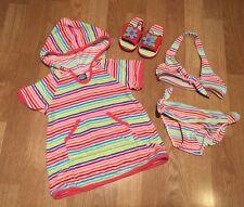 Koala Kids Girls 4 piece Striped Swim Suit Outfit - Size 18M months