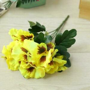 ARTIFICIAL HEADS SILK FLOWERS PANSY FAKE BUNCH WEDDING PARTY DECOR 6-COLOUR C3K9