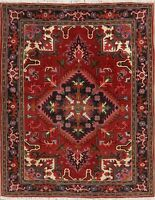 RED & NAVY Geometric Traditional Oriental Area Rug Wool Hand-Knotted Carpet 5x7