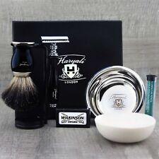 Completo conjunto de afeitado clásico Safety Razor & Negro Badger Cepillo Kit De Aseo Para Hombre