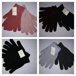PRIMARK PACK OF 2 ASSORTED COLOURED GLOVES ONE SIZE NEW WITH TAGS