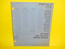1971 FORD MUSTANG LINCOLN MARK III MOTOROLA 8-TRACK/AM-FM RADIO SERVICE MANUAL