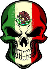 "#272 (1) 3"" Mexican Mexico Flag SKULL Sticker Decal cráneo bandera mexicana"