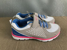 BNWT Girls Sz 1 Rivers Doghouse  White Blue Grey Pink Tab Athletic Jogger Shoes