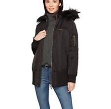 MEMBERS ONLY Women's Faux-Fur-Lined Elongated Bomber Jacket w Hood S Black NWT