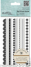 Papermania craft collection Urban stamp set of 6 border stamps hearts flowers