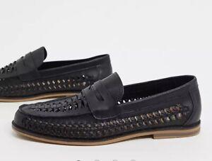 TOPMAN Woven Loafers Shoes Men's BLACK Weave Smart Casual BN UK 9 / 43 Slip On