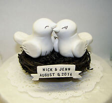 Love Bird Wedding Cake Topper Birds Nest with Banner - Fully Customizable