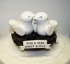 Love Bird Wedding Cake Topper Birds Nest with Banner - Fully Customizable