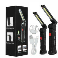 Rechargeable COB LED Slim Work Light Lamp Flashlight Inspect Folding Torch 18650