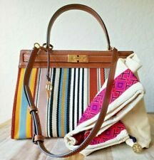 TORY BURCH LEE RADZIWILL  FRAME BAG Multi Webbing Stripe and Leather NWT+Duster