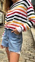brandy melville crewneck stripe cotton rainbow Orlena top NWT sz S/M