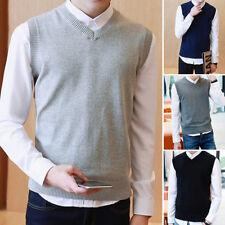 Men V Neck Tank Sleeveless Knitted Tops Sweater Vest Business Jumpers Cardigans