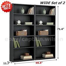 Bookcase WIDE 5 Shelf Set of 2 Pcs Black Adjustable  Wood Bookshelf Storage