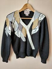 90s vintage 40s style jumper petite 12-14 gold silver leaf pattern Christmas