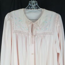 Shadowline Medium Nightgown & Robe Pink Embroidered Pegnoir Vintage Lingerie
