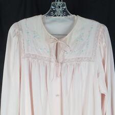 Shadowline Medium Nightgown & Robe Pink Embroidered Pegnoir Vintage Lingerie
