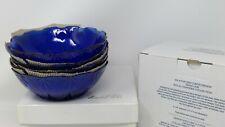 "Avon Cobalt Blue Royal Sapphire Set of 4 Bowls 6 1/4"" - Nib"