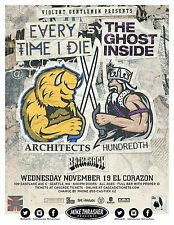 Every Time I Die /The Ghost Inside/ Architects 2014 Seattle Concert Tour Poster